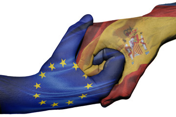 Handshake between European Union and Spain