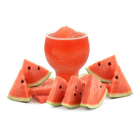 Watermelon smoothie with watermelon slices on white plate isolat