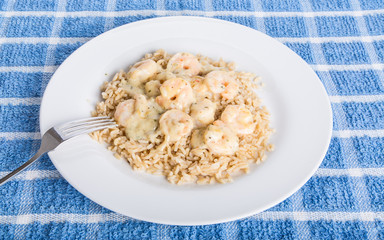 Plate of Shrimp Scampi with Fork Resting on Edge
