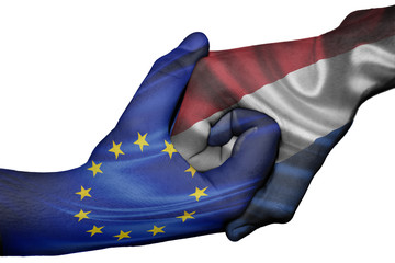 Handshake between European Union and Netherlands
