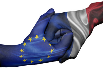 Handshake between European Union and France