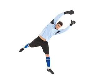 Goalkeeper in blue jumping up