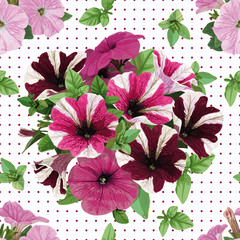 seamless pattern, bouquet of petunias