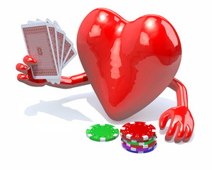 heart with arms and legs been playing poker