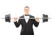 Man In suit holding a barbell