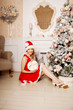 Young beautiful smiling santa woman near the Christmas tree. Fas