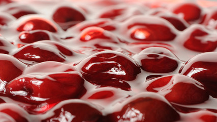 Cherries in Jelly Close-Up (16:9 Aspect Ratio)
