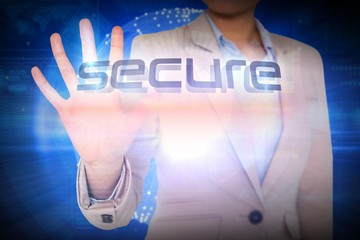 Businesswoman presenting the word secure