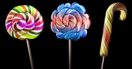 Bright colorful lollipop set