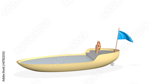 canvas print picture boat - 3D render illustration