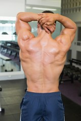 Rear view of bodybuilder posing in gym