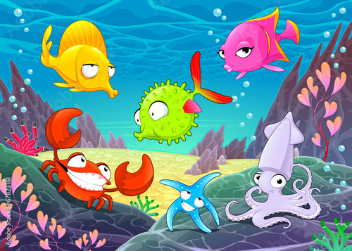 Funny happy animals under the sea.