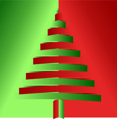 Vector format of red and green christmas tree from bended papers