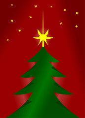 Vector format of red and green christmas tree cutted from paper