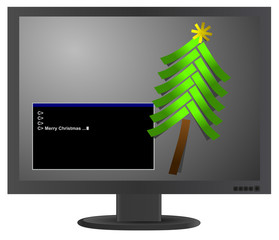 Vector christmas tree from paper stickers on LCD monitor