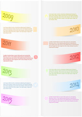 Vector infographic timeline report from colored bended papers
