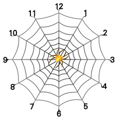 Vector format of simple spider web clock face with golden spider