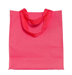 red cotton bag isolated on white with clipping path