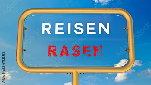 canvas print picture Reisen vs Rasen - Sicherheitskonzept