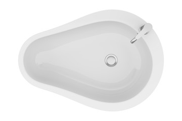 top view of modern standing bathroom sink isolated on white back