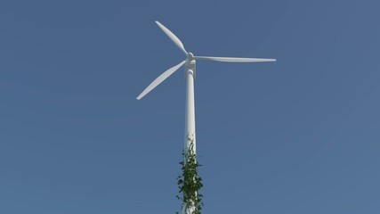 Wind turbine with ivy growing