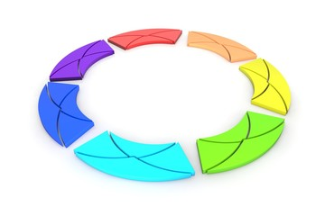 abstract multicolored emails