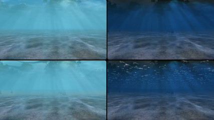 city from underwater and from the above in four screens