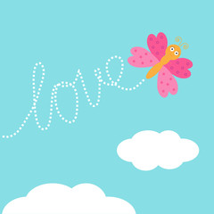 Flying butterfly insect. Dash word Love in the sky. Card Flat
