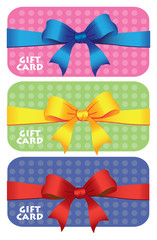 Colorful gift cards with ribbons.