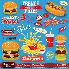 Vintage Fast food poster set design
