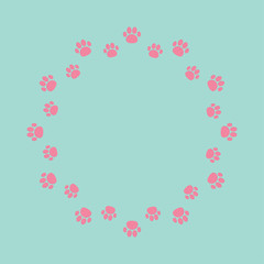 Paw print round abstract frame. Empty template.
