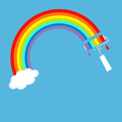Rainbow one cloud in the sky and paint roller Dash line
