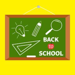 Back to school. Board magnifer pencil light bulb ruller Flat