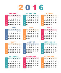 Calendar 2016 (week starts with sunday).
