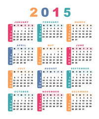 Calendar 2015 (week starts with sunday).