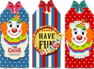 Circus tags with clowns