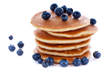Stack of pancakes with fresh blueberries
