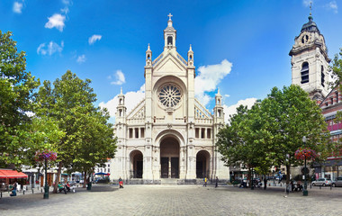 Panoramic view of catholic church in Place Ste. Catherine in Bru
