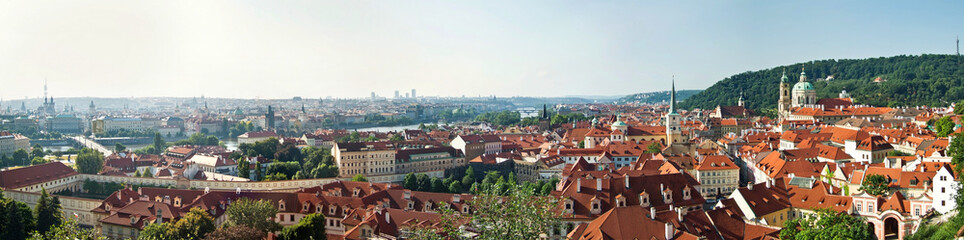 Panoramic view of historical buildings in Prague, Czech Republic