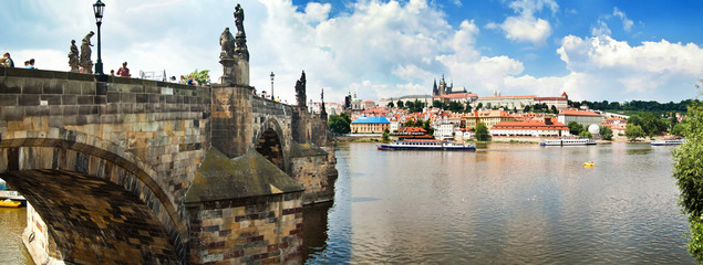 Panoramic view of Karlov Bridge historical buildings in Prague,