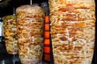 Leinwanddruck Bild - A pair of rotating skewered chicken and lamb meat grilled and re