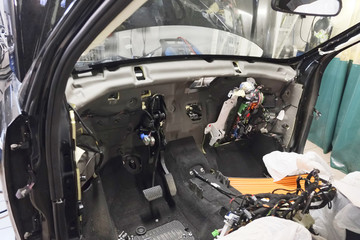 car interior without finishing under repair