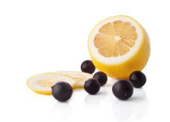 Lemon and blackberries fruits