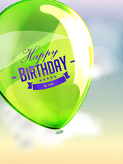 Happy birthday balloons greeting card green illustration