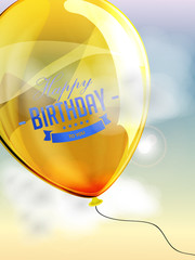Happy birthday balloons greeting card yellow illustration
