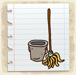 Cartoon mop illustration