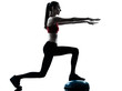 woman exercising bosu balance ball trainer silhouette