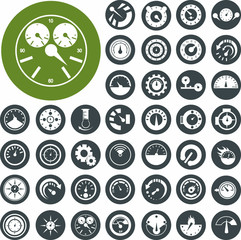Circular gauge icons set