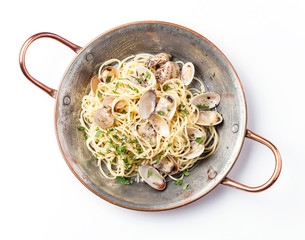 Seafood pasta with clams Spaghetti alle Vongole on white backgro