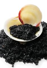 Sea salt and seashell,  close up